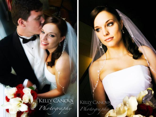 Handsome groom in black traditional tux kisses beautiful bride, wearing white strapless wedding dres