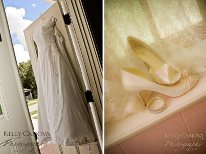 Red-white-traditional-church-wedding-ivory-peep-toe-bridal-shoes-wedding-dress-hangs-in-window.full