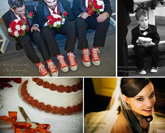 Groomsmen hold red and white rose bridesmaids bouquets, wear red Chuck Taylors; white three tier wed