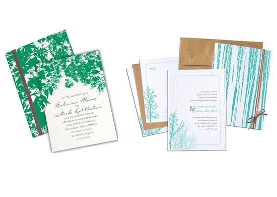 Wedding invitations inspired by nature and the forest, with bright aqua and deep kelly green