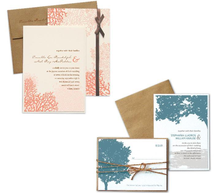 Kenziekate-wedding-invitations-coral-natural-brown-trees-blue-ribbons.full