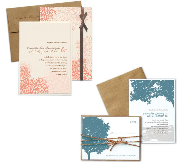 Kenziekate-wedding-invitations-coral-natural-brown-trees-blue-ribbons.original