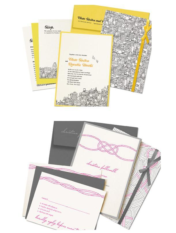 Beautiful chic wedding invitation sets in grey and white, with pops of pink, yellow and orange