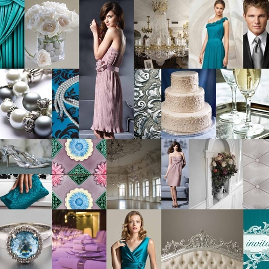 Beautiful blue, teal, white and silver wedding inspiration from The Dessy Group and Pantone
