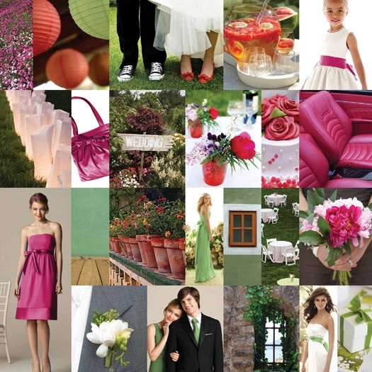 Beautiful sage and fuchsia style board, with Dessy bridesmaids dresses, signature cocktails, groom i