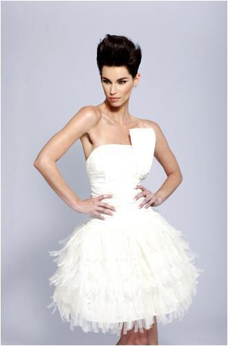 Cute knee-length wedding dress (perfect for your reception)- ruffled feather skirt, origami detail o