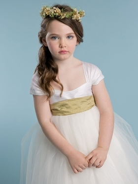 Silk Top Off Shoulder Flower Girl Dress