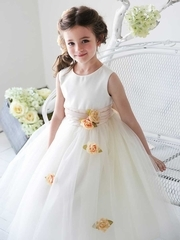 Cummerbund Satin with Organza Flower Girl Dress