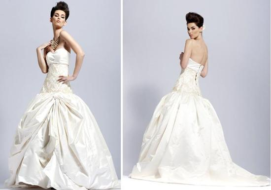 Luxurious ivory strapless wedding dress with full ball skirt and corset back