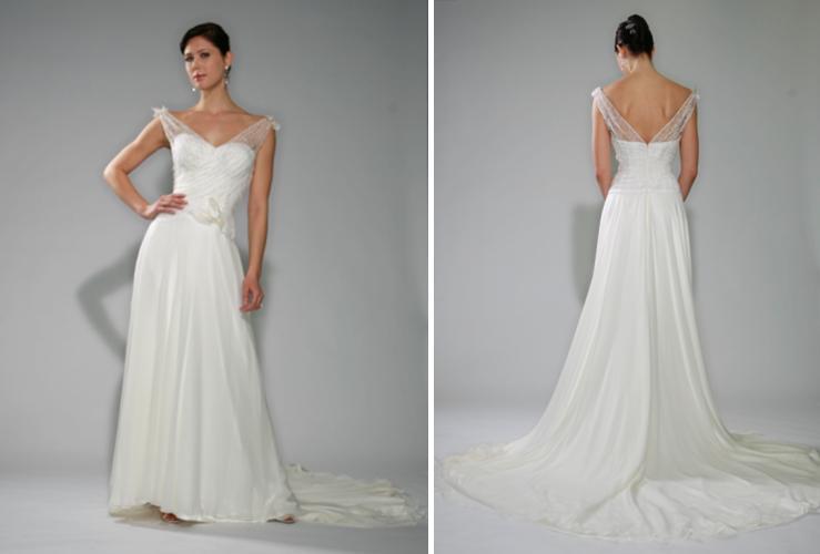 Beautiful white wedding dress with portrait neckline, illusion ...