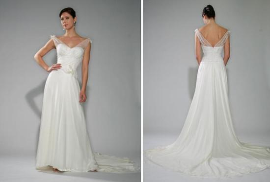Beautiful white wedding dress with portrait neckline, illusion straps, silk chiffon skirt