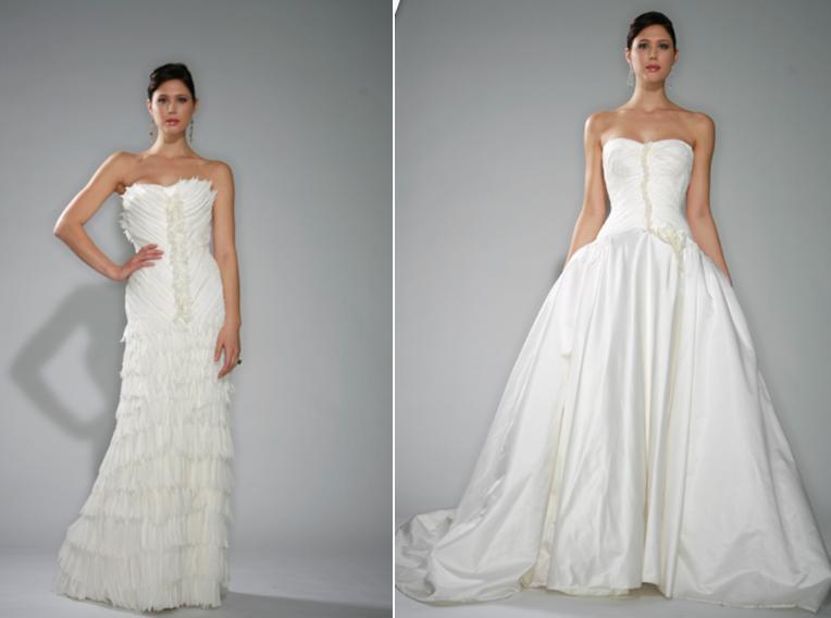 Ruched Chantilly Lace Wedding Dress With Circular Skirt Of