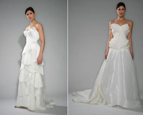 Beautiful strapless wedding dresses- flowing silk organza skirt, a stunning tribute to wintage Holly