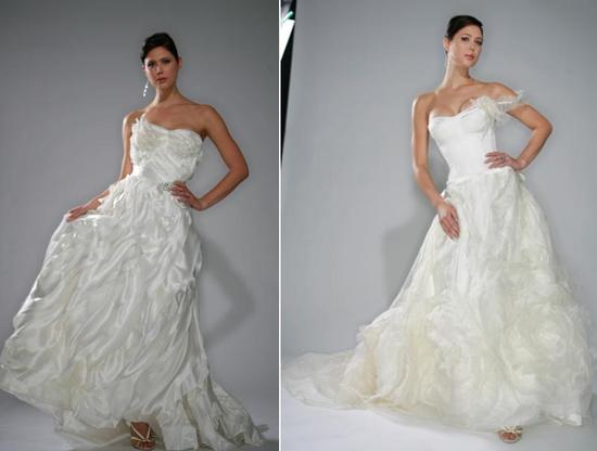 Magnificent Gilles Montezin white wedding dresses- hand-pleated flowers, flowing skirts, and cascadi