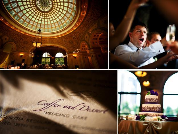 Wedding details from a chic downtown Chicago wedding- three tier white and purple wedding cake