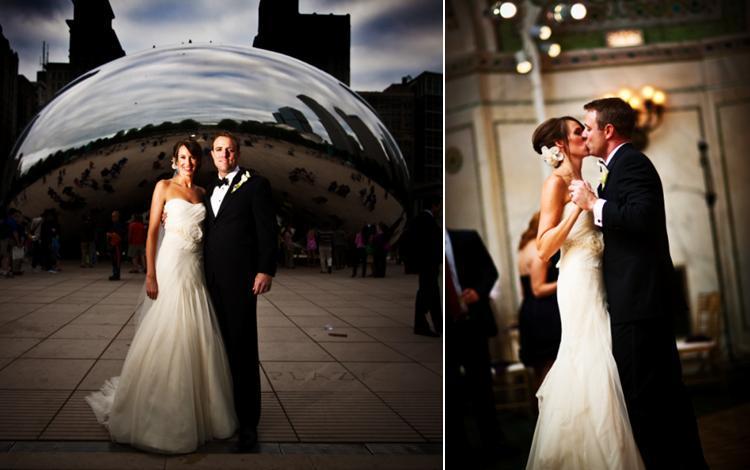 Chicago-wedding-millenium-park-bean-bride-in-ivory-strapless-a-line-wedding-dress-flower-in-hair.full