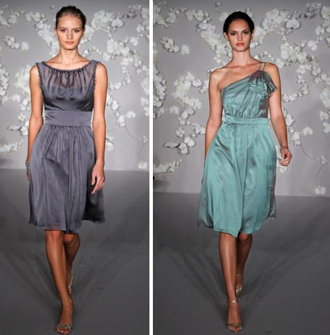 Beautiful charcoal and tahitian luminescent chiffon a-line knee-length bridesmaids dresses