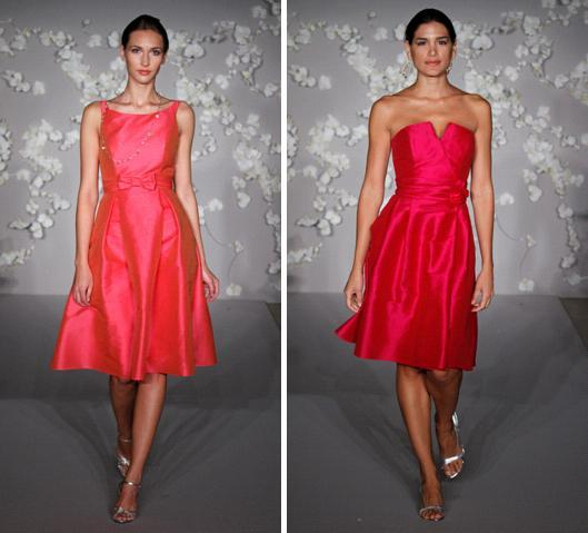 Knee-length bridesmaids dresses in bright coral and fuchsia, one with conservative boat neck, one wi
