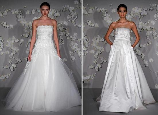 Ivory Alvina Valenta strapless wedding dresses, with alencon lace, tulle, fabric florals and scatter