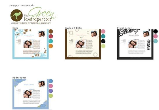 New free wedding website templates from The Green Kangaroo!