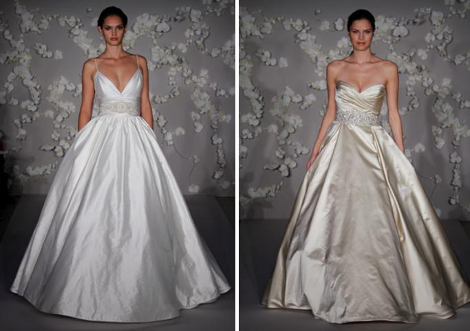 Ivory Silk Shantung Ball Gown Wedding Dress With Ruched Cumberbund Accented Embroidered Flowers