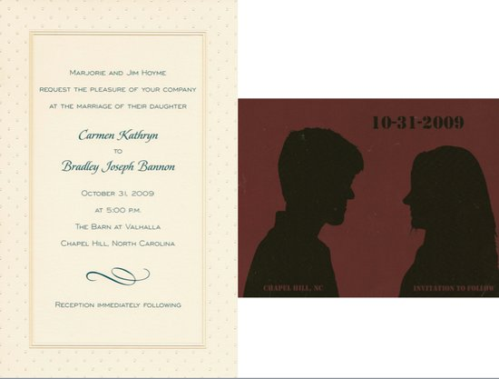 This tan invitation with green writing and brown Save the Date card don't necessarily suggest Hallow