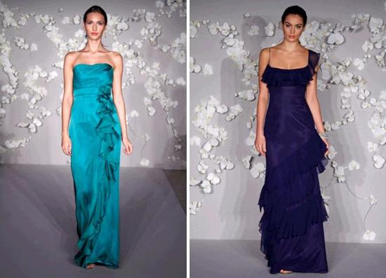 Long Jim Hjelm bridesmaids' dresses- strapless teal and one-shoulder indigo, both with ruffles