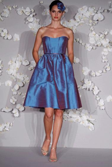 Length Blue And Purple Irridescent Strapless Bridesmaids Dress With