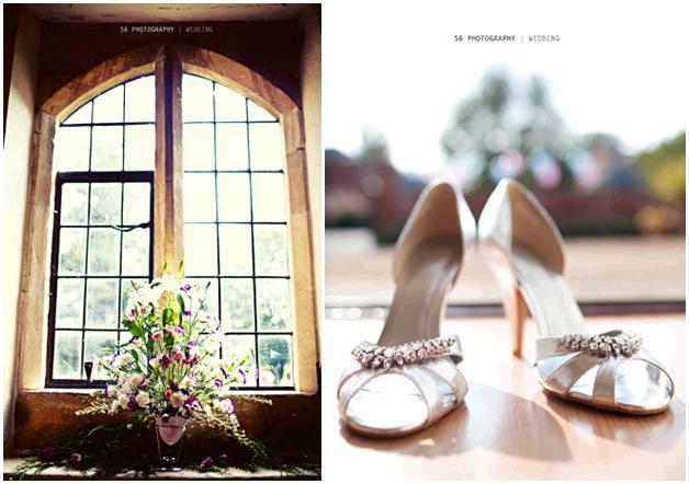London-wedding-silver-bridal-heels-with-rhinestone-brooch-large-floral-centerpiece-in-church-window.full