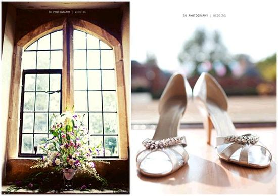 Stunning large floral centerpiece sits in window of church; silver bridal shoes with rhinestone deta