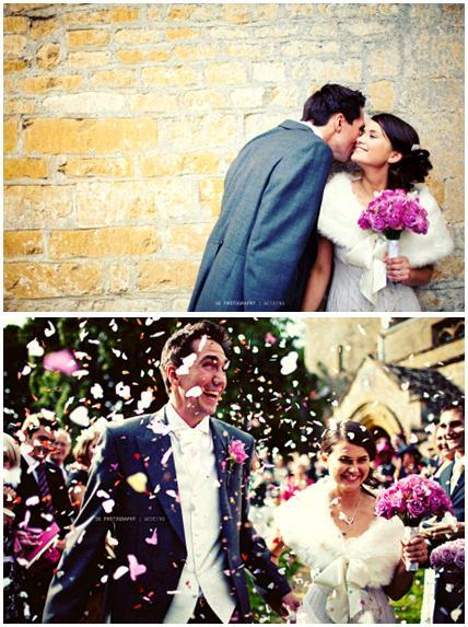 Bride with white wedding dress and fur shrug holds pink bridal bouquet, groom kisses cheek