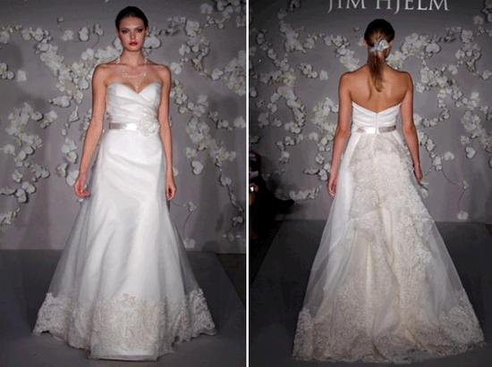 White Jim Hjelm wedding dress with hints of lace, sash with flower applique, deep sweetheart necklin