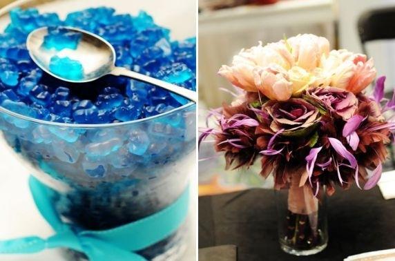 Erin-hession-blue-gummy-bears-candy-bar-at-wedding-reception-purple-peach-floral-centerpiece.full