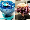 Erin-hession-blue-gummy-bears-candy-bar-at-wedding-reception-purple-peach-floral-centerpiece.square