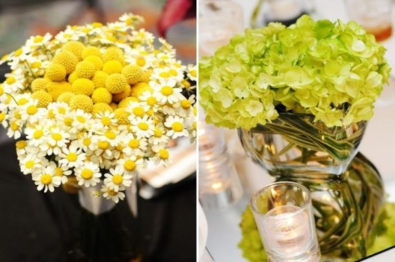 Lovely yellow and white daisy floral centerpiece; light lime green centerpiece surrounded by candles