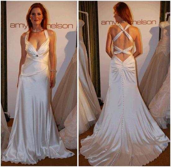 Amy Michelson wedding dress- white heavy silk charmeuse, covered buttons