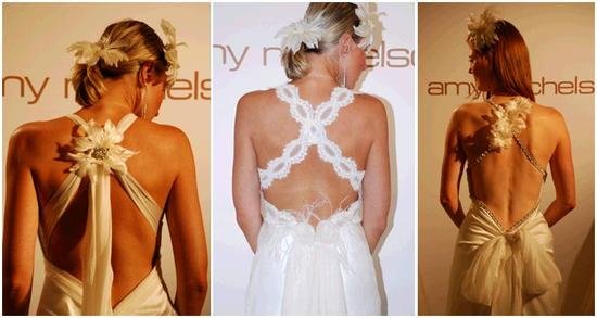 Amy Michelson's wedding dresses from behind- beautiful, plunging, intricate backs