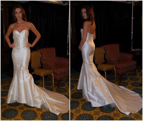 Nicole Miller strapless wedding dress with fishtail train- based on a dress she designed for the upc