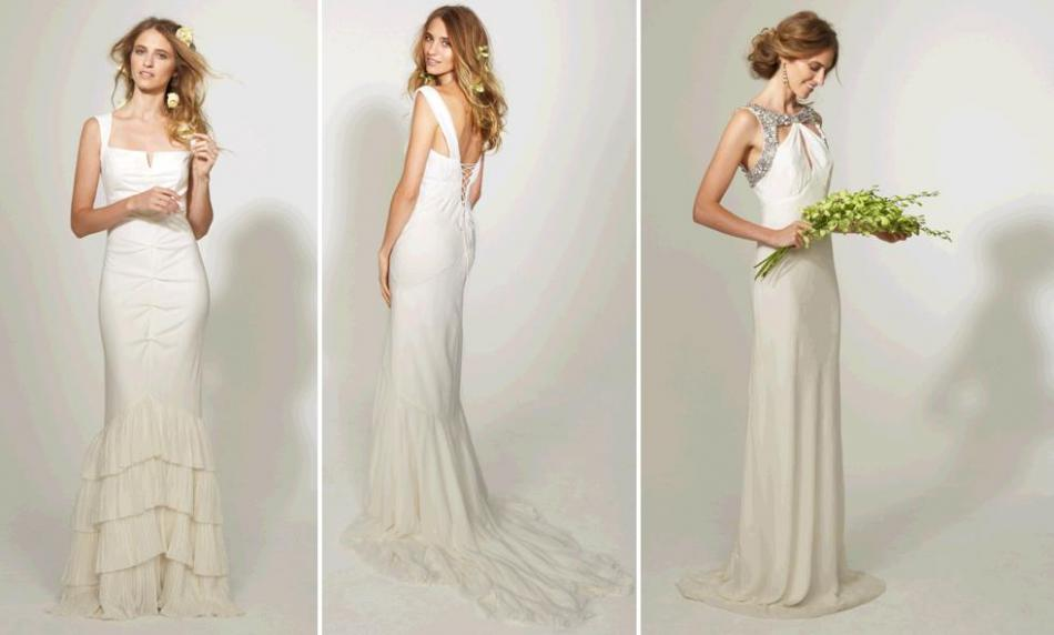 Beautiful wedding dresses from nicole miller 39 s spring 2010 for Simple form fitting wedding dresses
