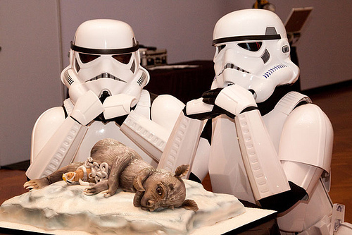 These storm troopers stand guard over a Star Wars themed grooms cake.