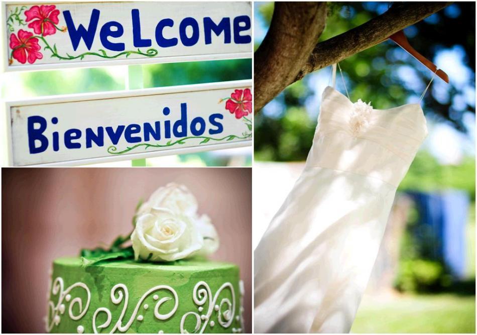 Green-white-blue-miami-wedding-wedding-cake-white-rose-welcome-sign-white-wedding-dress-hangs-on-tree.full