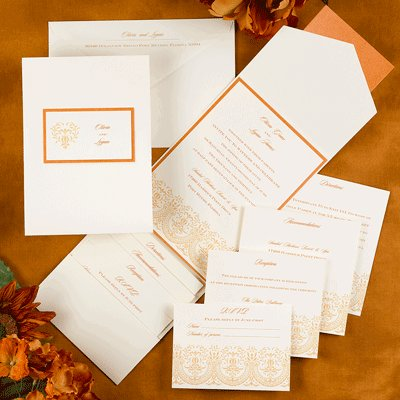 This invitation set is ecru with a tangerine accent color.