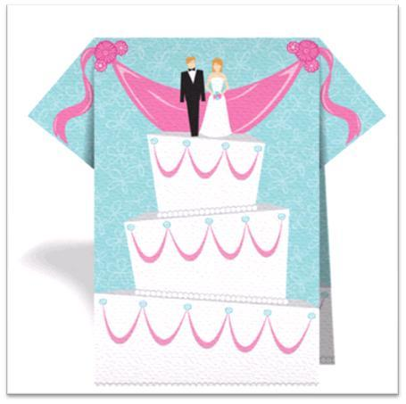 Blue, pink and white wedding napkin, featuring wedding cake with bride and groom cake topper