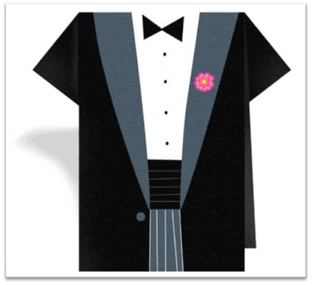 Cute groom cocktail napkin- groom in tuxedo with pink boutiniere