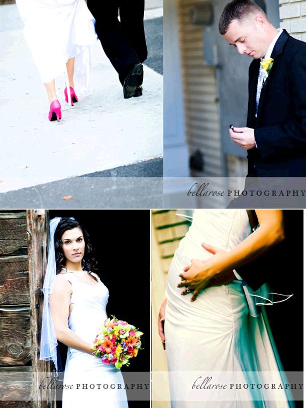 Hot-pink-bridal-heels-bride-in-white-form-fitting-wedding-dress-groom-yellow-boutinier-looks-at-wedding-ring.full