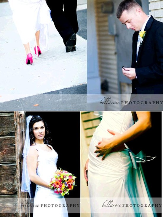 Bride in white wedding dress, hot pink heels, walks hand in hand with handsome groom