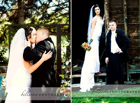 Bride and groom kiss after saying I Do, and pose together outside