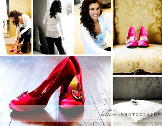 Beautiful bride gets ready- puts on Maggie Sottero white wedding dress and hot pink bridal shoes