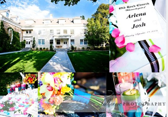 Wedding venue in Providence, Utah, chic and fun wedding program, vibrant flowers and candles