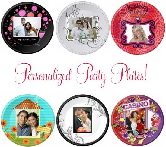 These adorable party plates come with pictures of the bride and groom, or just a picture of the brid